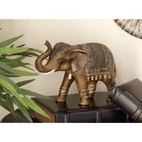 Eclectic 8 Inch Bronze Standing Elephant Sculpture by Studio 350