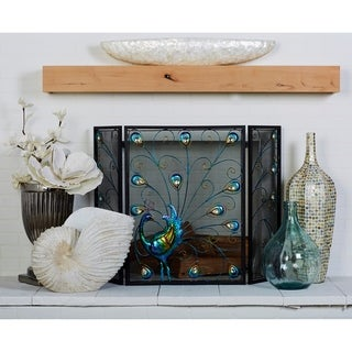 The Curated Nomad Lotta Blue and Black Iron Peacock Panel