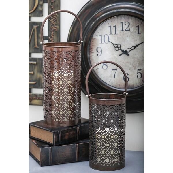 The Curated Nomad Lotta Bronze Aluminum Round Candle Lanterns (Set of 3)