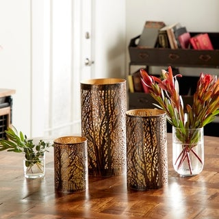 The Curated Nomad Lotta Metal Hurricane Candle Holders (Set of 3)