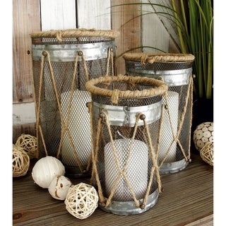 The Gray Barn Lomax Metal Rope Candle Holder (Set of 3)