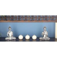 "Decorated Silver Buddha Figurines with 2 Hand Mudras - 6"" x 8"" Each"