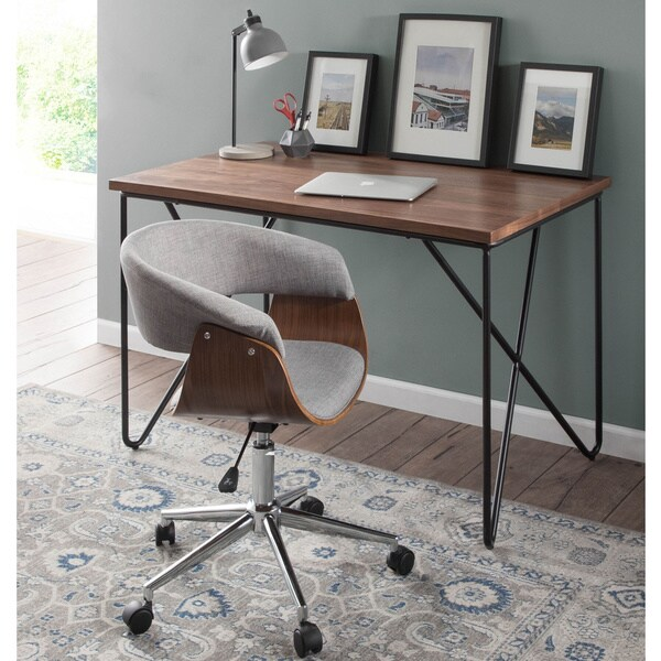 Carson Carrington Falkenberg Vintage Mod Mid-century Modern Upholstered Office Chair in Walnut Wood