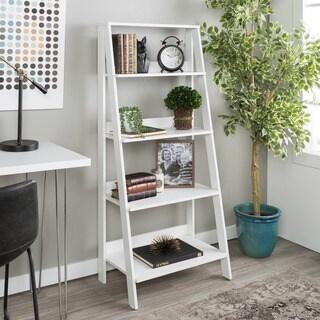 Porch & Den 55-inch Meadlowlark Wood Ladder Bookshelf, White, 4-tier Bookshelf for Living Room - 24 x 13 x 55h