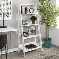 Porch & Den Meadlowlark 55-inch White Wood Ladder Bookshelf
