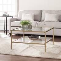Clay Alder Home Sorlie Metal/Glass Open Shelf Cocktail Table - Gold