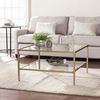 Porch & Den Sorlie Square Metal/Glass Open Shelf Cocktail Table - Gold