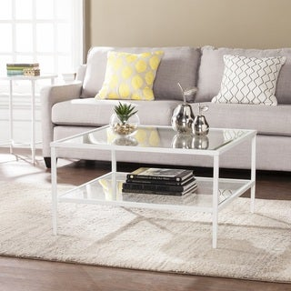 Porch & Den Lakeridge Square Metal/Glass Open Shelf Cocktail Table - White