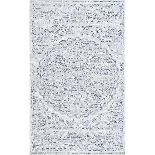 The Gray Barn Grapewin Traditional Raised Pattern Floral Sun Medallion Area Rug (Grey - 8 x 10)