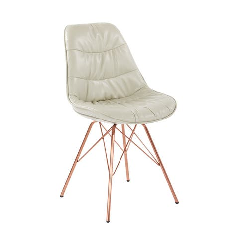 Carson Carrington Hokksund Tufted Faux Leather Midcentury Chair with Rose Gold Base