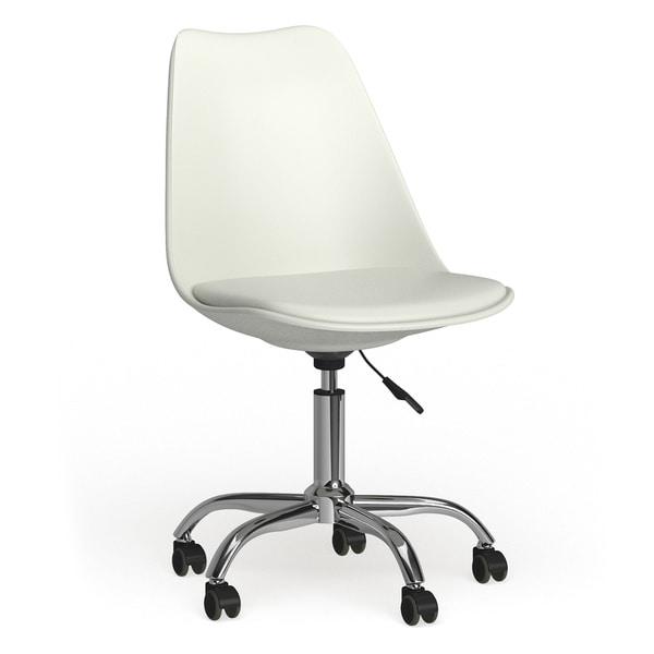 Carson Carrington Avesta Handmade Mid-century Modern White Leather Office Chair