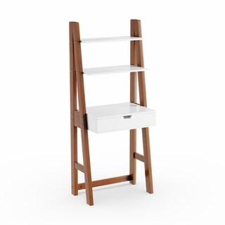 Carson Carrington Kaskinen White and Oak Leaning Desk/ Bookcase