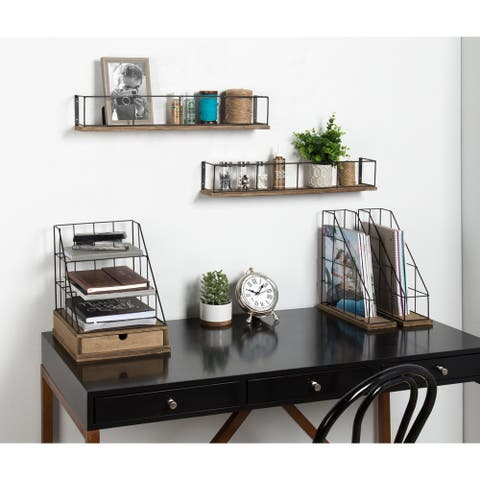 Carbon Loft Richter 2-pack Wood and Metal Floating Wall Shelves - 2 Piece