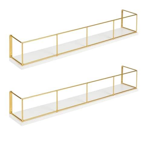 Carbon Loft Richter 2-pack Wood and Metal Floating Wall Shelves