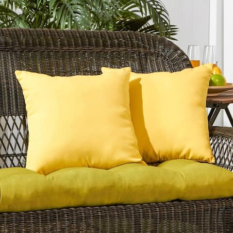 Driftwood Yellow Outdoor 17-inch Accent Pillow (Set of 2) by Havenside Home - 17w x 17l