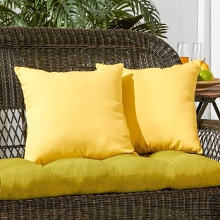 Link to Driftwood Yellow Outdoor 17-inch Accent Pillow (Set of 2) by Havenside Home - 17w x 17l Similar Items in Outdoor Cushions & Pillows