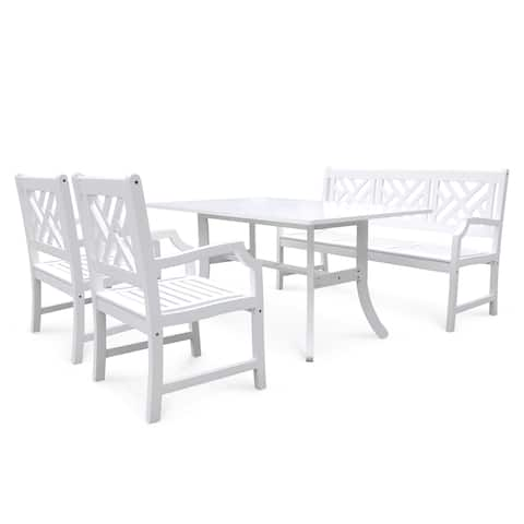 Surfside Outdoor Wood Dining Set with Rectangular Table, Bench and Arm Chair by Havenside Home