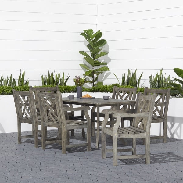 Surfside Hardwood 7-piece Rectangular Table and Armchair Outdoor Dining Set by Havenside Home. Opens flyout.