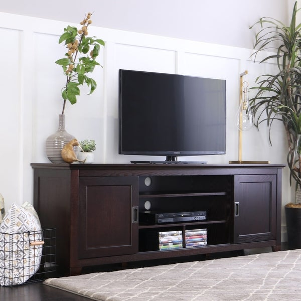 Strick & Bolton Tribolo 70-inch Espresso Sliding Door TV Console. Opens flyout.