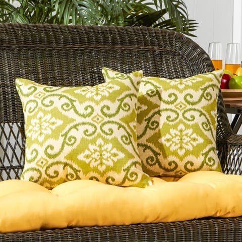 Cocoa Beach Green Ikat 17-inch Outdoor Accent Pillow (Set of 2) by Havenside Home - 17w x 17l