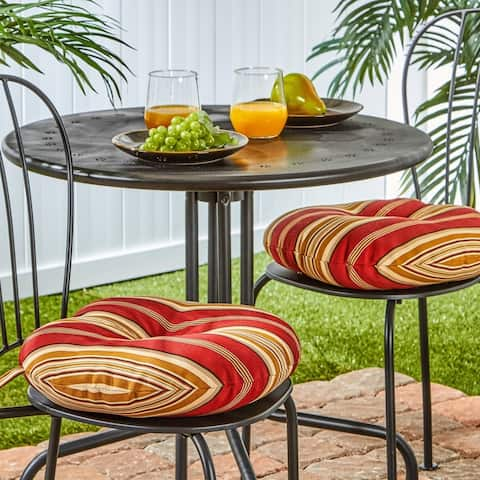 Clearwater Outdoor 15-inch Stripe Bistro Chair Cushions (Set of 2) by Havenside Home - 15w x 15l