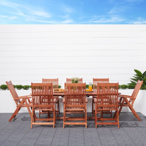 9 -Piece Rectangular Extension Table and Reclining Chair Outdoor Dining Set