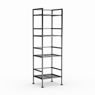 Seville Classics 4-Tier Iron Bar Square Tower Shelving, Satin Pewter