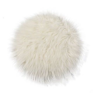 Plush Round Carpet Throw Rug Anti-Skid Shaggy Area Rug Soft Floor Mat Rug 1'x 1'(white)