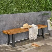 Raphael Outdoor Acacia Wood Bench by Christopher Knight Home - Black
