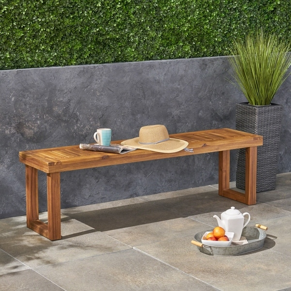 Nestor Outdoor Acacia Wood Bench by Chirstopher Knight Home
