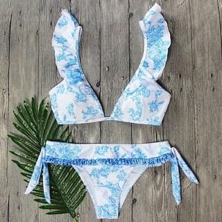 Light Blue Floral Lacing Falbala Sexy Two-piece Bikini Set Swimsuit