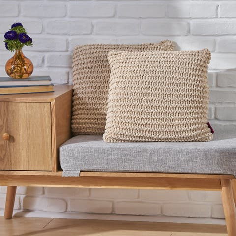Farlie Knitted Cotton Pillows (Set of 2) by Chirstopher Knight Home