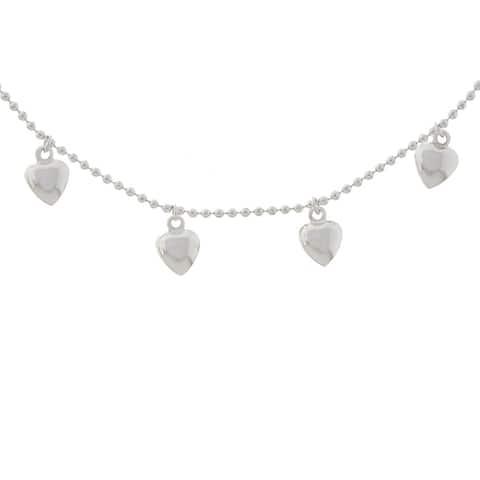 Roberto Martinez Sterling Silver 7-inch Heart Charm Bracelet