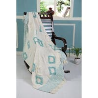 LR Home Throws Sky Blue & Ivory Cotton Blankets