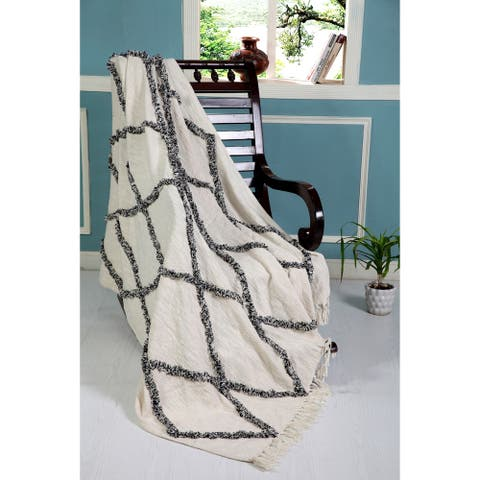 LR Home Throws Black/Natural & White Cotton Blanket