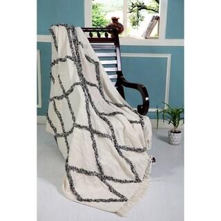 LR Home Throws Black/Natural & White Cotton Blankets