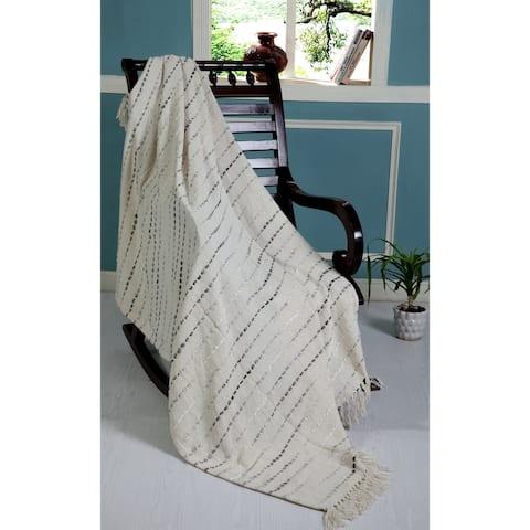 Gray Shimmer Stripe Woven Throw Blanket with Fringe