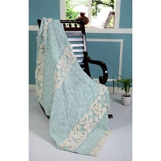 LR Home Throws Sky Blue & Blue Cotton Blankets