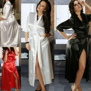 Ice Silk Kimono Bridesmaid Middle-sleeved Sexy Bathrobe Lingerie for Women