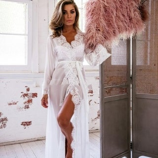 Sexy Grenadine Long Kimono Dress Lace Bath Robe Lingerie Nightdress for Women