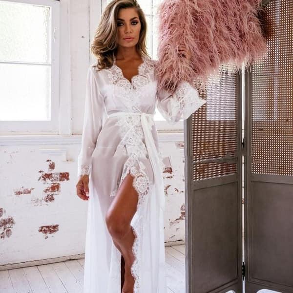 2b9fb43d45b Sexy Grenadine Long Kimono Dress Lace Bath Robe Lingerie Nightdress for  Women