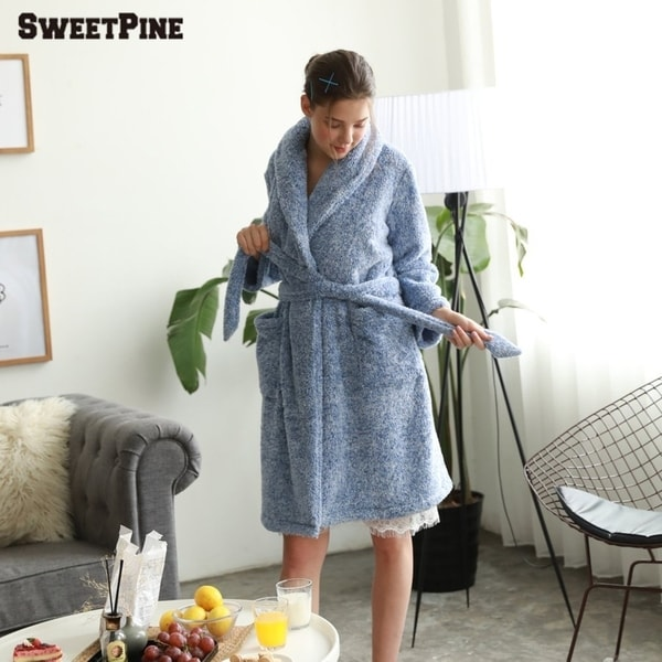 d2ffd2f197 Women Soft Warm Flannel Bath Robe Nightgown Women  x27 s Sleepwear Dressing  Gown