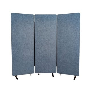 Offex Wall Partition Privacy Screen Freestanding Acoustic Room Divider for Office, Classroom, Libraries - 3 Pack, Pacific Blue