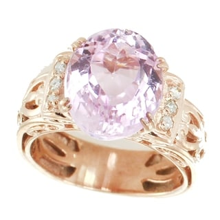 Michael Valitutti Palladium Silver Kunzite Diamond Ring
