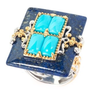 Michael Valitutti Palladium Silver Lapis & Sleeping Beauty Turquoise Overlay Rectangle Ring