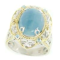 Michael Valitutti Palladium Silver Aquamarine, Blue Zircon & White Sapphire Ring