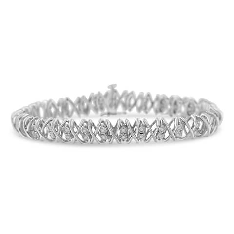 Sterling Silver 2ct TDW Rose-cut Diamond X-Link Bracelet (I-J, I3-Promo)