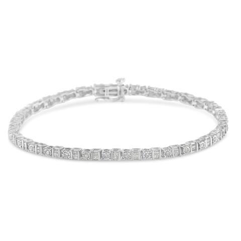 10k White Gold 1ct TDW Diamond Tennis Bracelet (I-J,I2-I3)