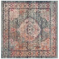 Safavieh Merlot Bohemian & Eclectic Oriental Navy / Aqua Polyester Rug - 6' x 6' Square