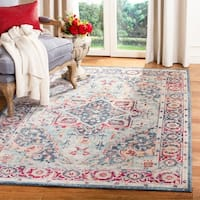 Safavieh Merlot Bohemian & Eclectic Oriental Navy / Aqua Polyester Rug - 6' x 6' Square